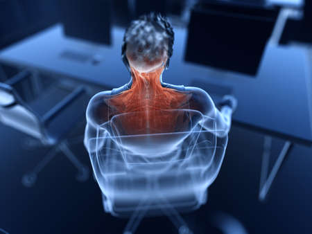3d rendered illustration of a man working on a pc - painful muscles