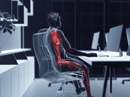 3d rendered illustration of a man working on a pc - visible vascular system Stock Photo