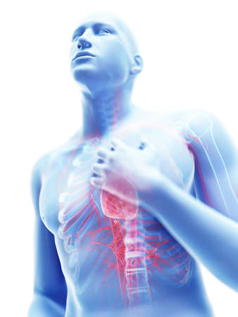 3d rendered illustration of a man having pain in the chest Stock Photo