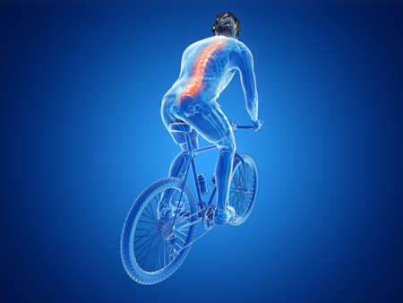 3d rendered illustration of a cyclists spine Stock Illustration - 111696174