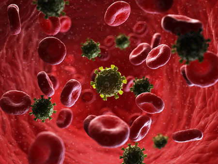 3d rendered medically accurate illustration of a HI virus in human blood Standard-Bild - 111693056