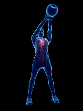 3d rendered medically accurate illustration of a man doing a kettlebell workout