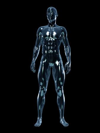 3d rendered illustration of a glass man