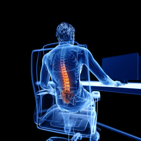 3d rendered medically accurate illustration of an office worker having a painful back Reklamní fotografie
