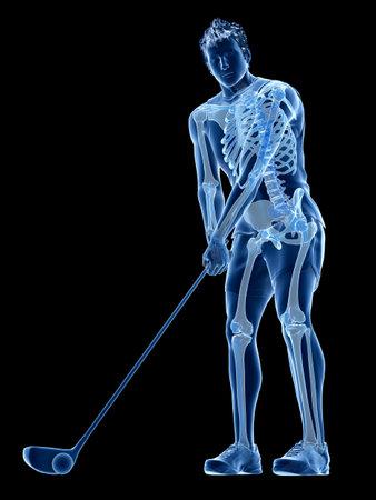 3d rendered medically accurate illustration of the skeleton of a golf player Reklamní fotografie