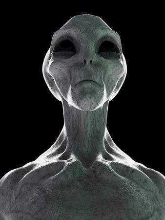 3D gerenderte Darstellung eines stehenden grauen Außerirdischen