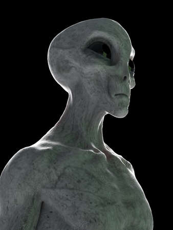 3d rendered illustration of a standing grey alien