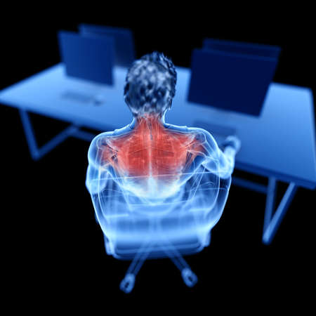3d rendered medically accurate illustration of an office worker having a painful back Stock fotó