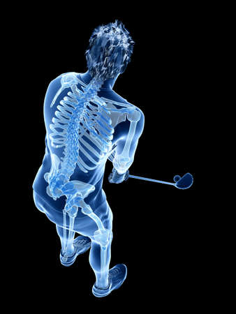 3d rendered medically accurate illustration of the skeleton of a golf player Stock Photo