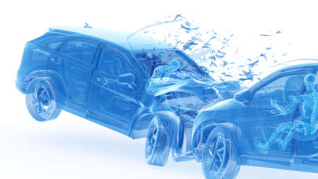 3d rendered illustration of two colliding cars Stockfoto