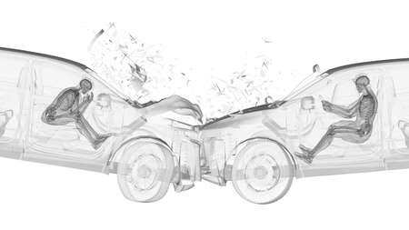 3d rendered illustration of two colliding cars Stock Photo