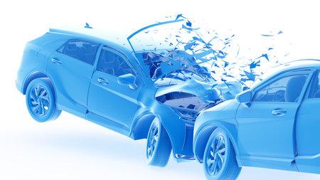 3d rendered illustration of two colliding cars Reklamní fotografie
