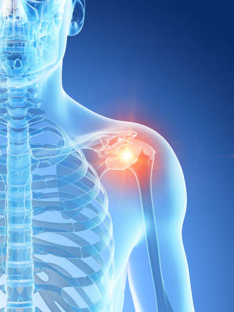 3d rendered illustration of a mans painful shoulder