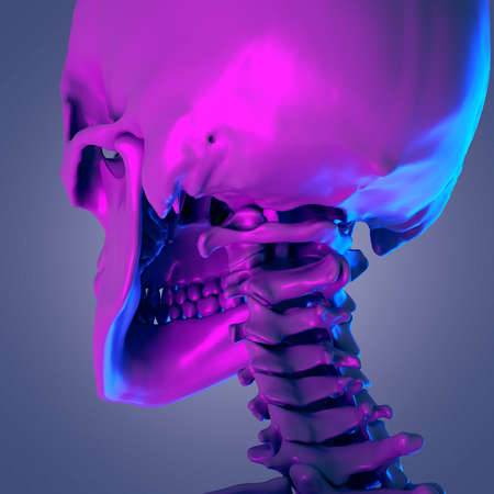 3d rendered abstract rendering of the cervical spine Stok Fotoğraf