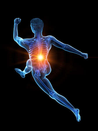 3d rendered medically accurate illustration of a runners painful back Stock Illustration - 121139454