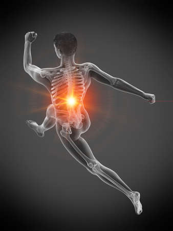 3d rendered medically accurate illustration of a runners painful back