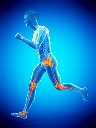 3D-gerenderte medizinisch genaue Darstellung von schmerzenden Gelenken eines Läufers Standard-Bild