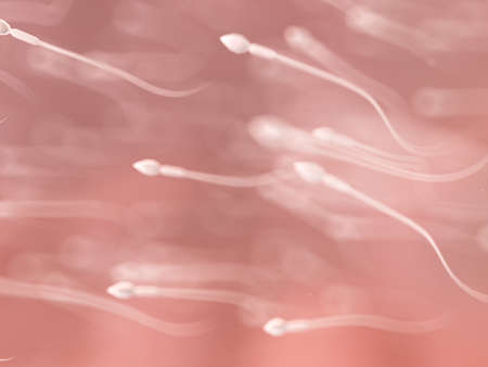 3d rendered illustration of a swarm of human sperm
