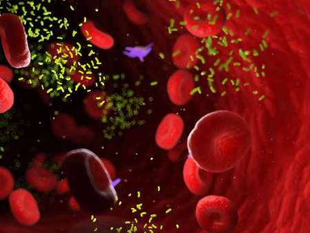 3d rendered medically accurate illustration of bacterias in an artery Standard-Bild - 121702229