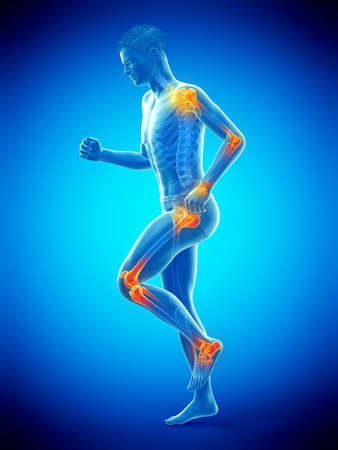 3d rendered medically accurate illustration of a walking man with painful jonts