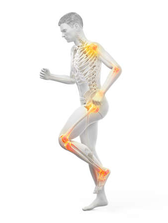 3d rendered medically accurate illustration of a walking man with painful jonts Stock fotó