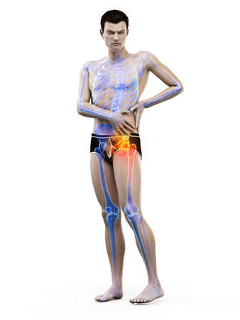 3d rendered medically accurate illustration of a man having a painful shoulder joint Stock Illustration - 121703612