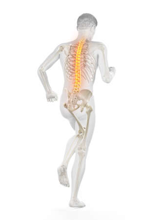 3d rendered medically accurate illustration of a walking man with a painful back Stock fotó