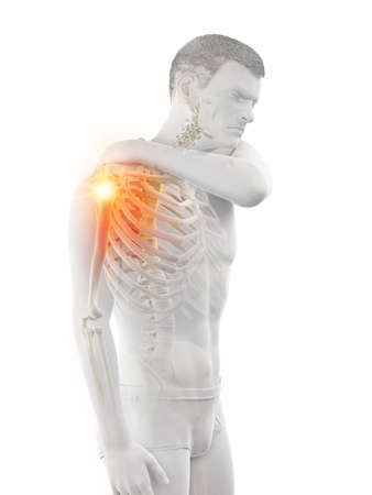 3d rendered medically accurate illustration of a man having a painful shoulder joint Banque d'images - 121704460