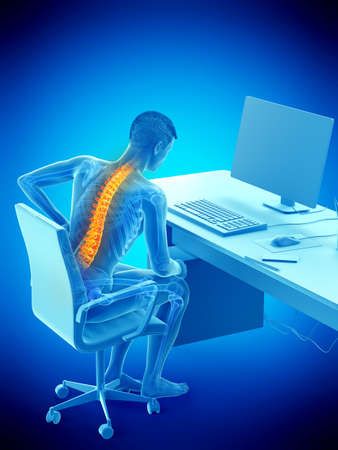 3d rendered medically accurate illustration of a man having a backache due to sitting