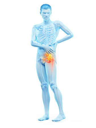 3d rendered medically accurate illustration of a man having a painful shoulder joint Stock Photo