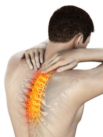 3d rendered medically accurate illustration of a man having a painful upper back Stock Photo