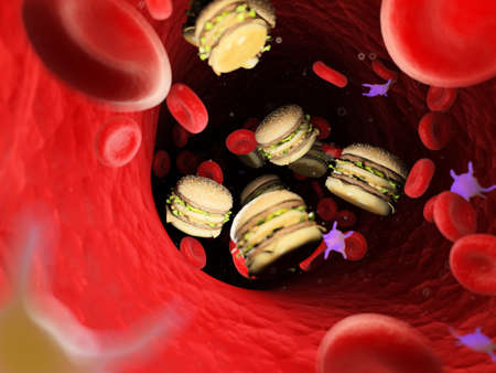 3d rendered conceptual  illustration of fat in the blood stream