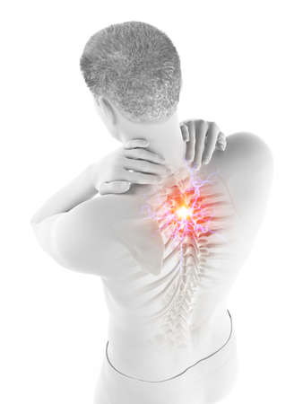 3d rendered medically accurate illustration of a man having a painful upper back Banco de Imagens