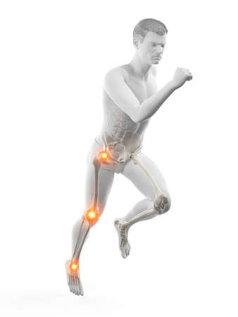 3d rendered medically accurate illustration of a runners painful joints Imagens