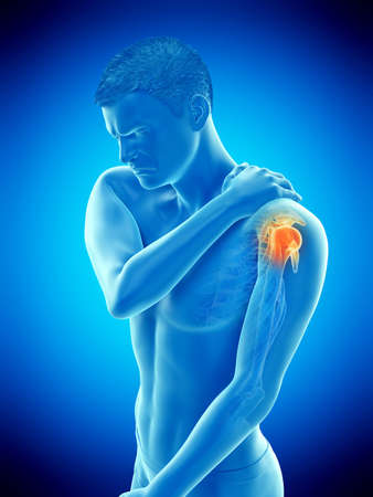 3d rendered medically accurate illustration of a mans painful shoulder Archivio Fotografico - 123253489