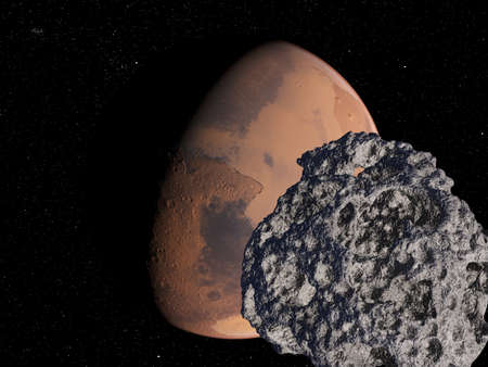 3d rendered illustration of an asteroid infront of mars