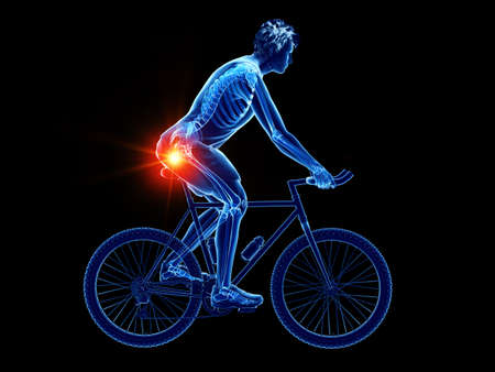 3d rendered illustration of a cyclists skeleton 写真素材