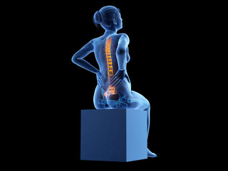 3d rendered medically accurate illustration of a pregnant woman having backache Stockfoto