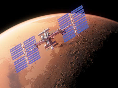 3d rendered illustration of a space station infront of mars 写真素材