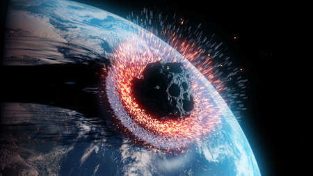 3d rendered illustration of an asteroid impacts earth Banque d'images
