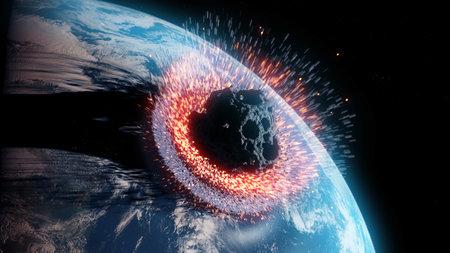 3d rindió la ilustración de un asteroide impacta la tierra Foto de archivo