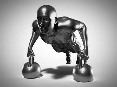 3d rendered medically accurate illustration of a metallic man doing a kettlebell workout Stock Photo