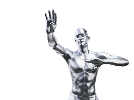 3d rendered illustration of a metal man in defensive pose Imagens - 133027599