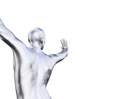 3d rendered illustration of a metal man in defensive pose Imagens - 133027666