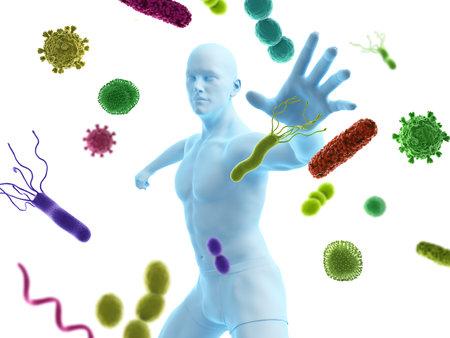 3D-gerenderde conceptuele immuunverdedigingsillustratie Stockfoto