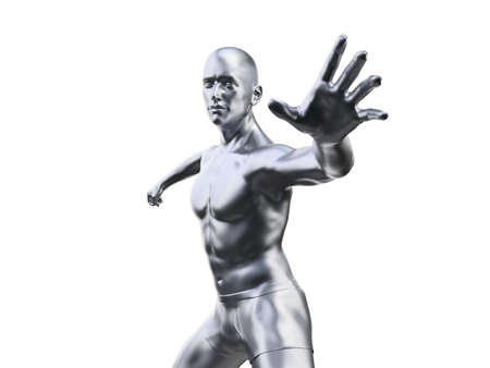 3d rendered illustration of a metal man in defensive pose