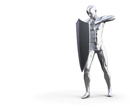 3d rendered illustration of a metal man in defensive pose Imagens - 133028238