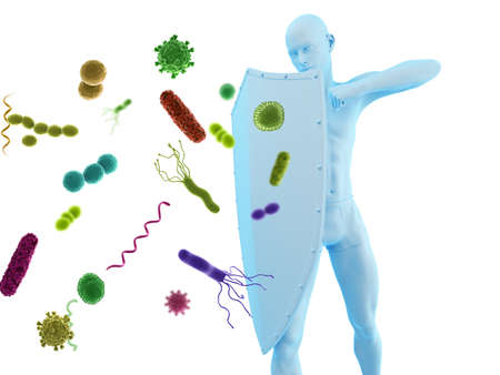 3d rendered conceptual immune defense illustration 写真素材