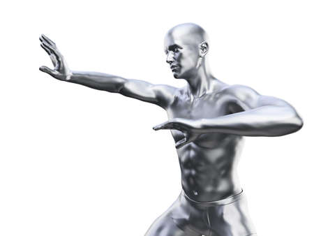 3d rendered illustration of a metal man in defensive pose Imagens - 133028557