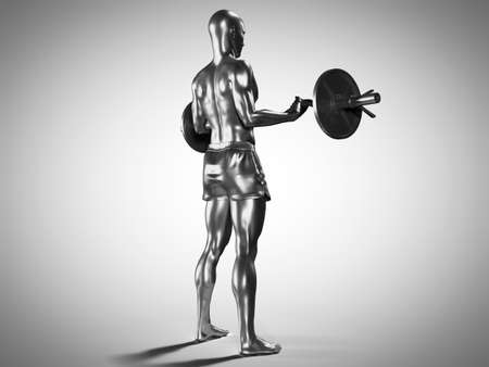 3d rendered medically accurate illustration of a metallic man lifting a barbell